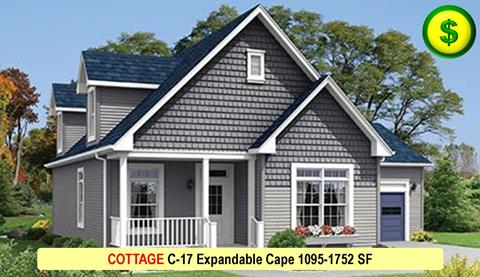 COTTAGE C-17 Expandable Cape 1095-1752 SF Crop