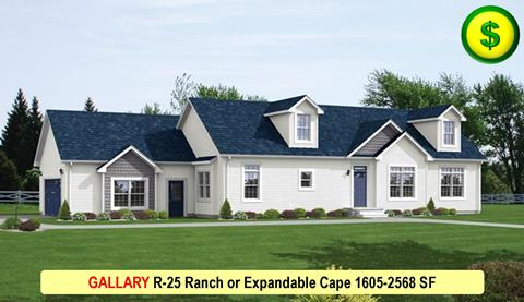 GALLARY R-25 Ranch or Expandable Cape 1605-2568 SF Cape
