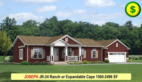 JOSEPH JR-24 Ranch or Expandable Cape 1560-2496 SF Crop