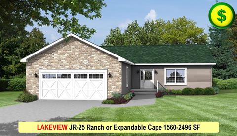 LAKEVIEW JR-25 Ranch or Expandable Cape 1560-2496 SF Crop