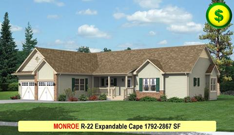 MONROE R-22 Ranch or Expandable Cape 1792-2867 SF Crop