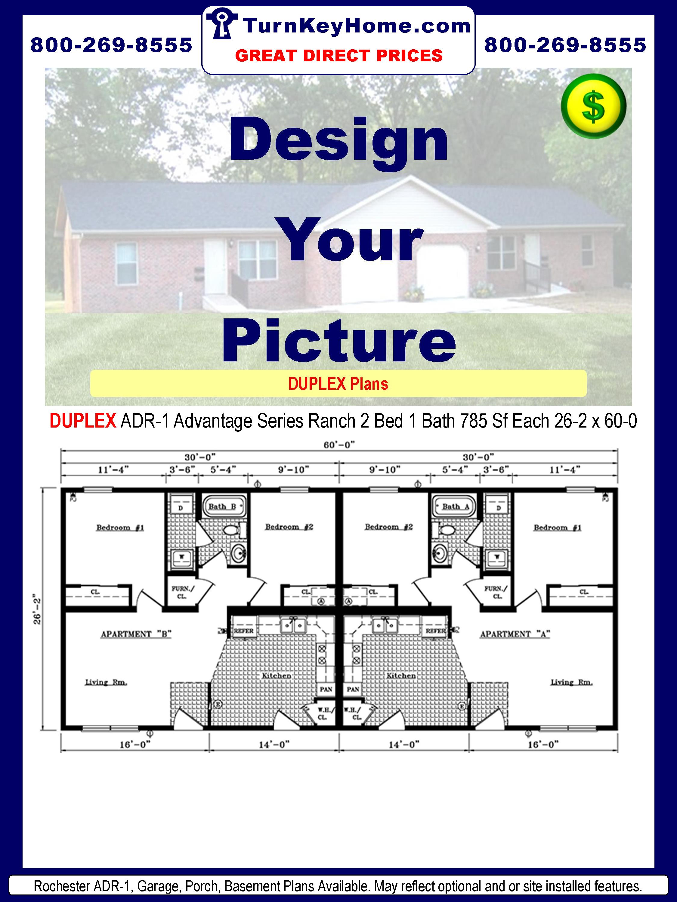 Rochester Homes DUPLEX ADR-1 Advantage Series Modular Ranch Plan 2 Bedroom 1 Bath 785 Sf Each 26-2 x 60-0