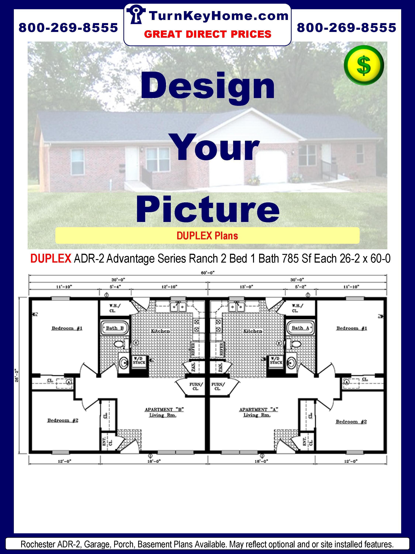 Rochester Homes DUPLEX ADR-2 Advantage Series Modular Ranch Plan 2 Bedroom 1 Bath 785 Sf Each 26-2 x 60-0.Price