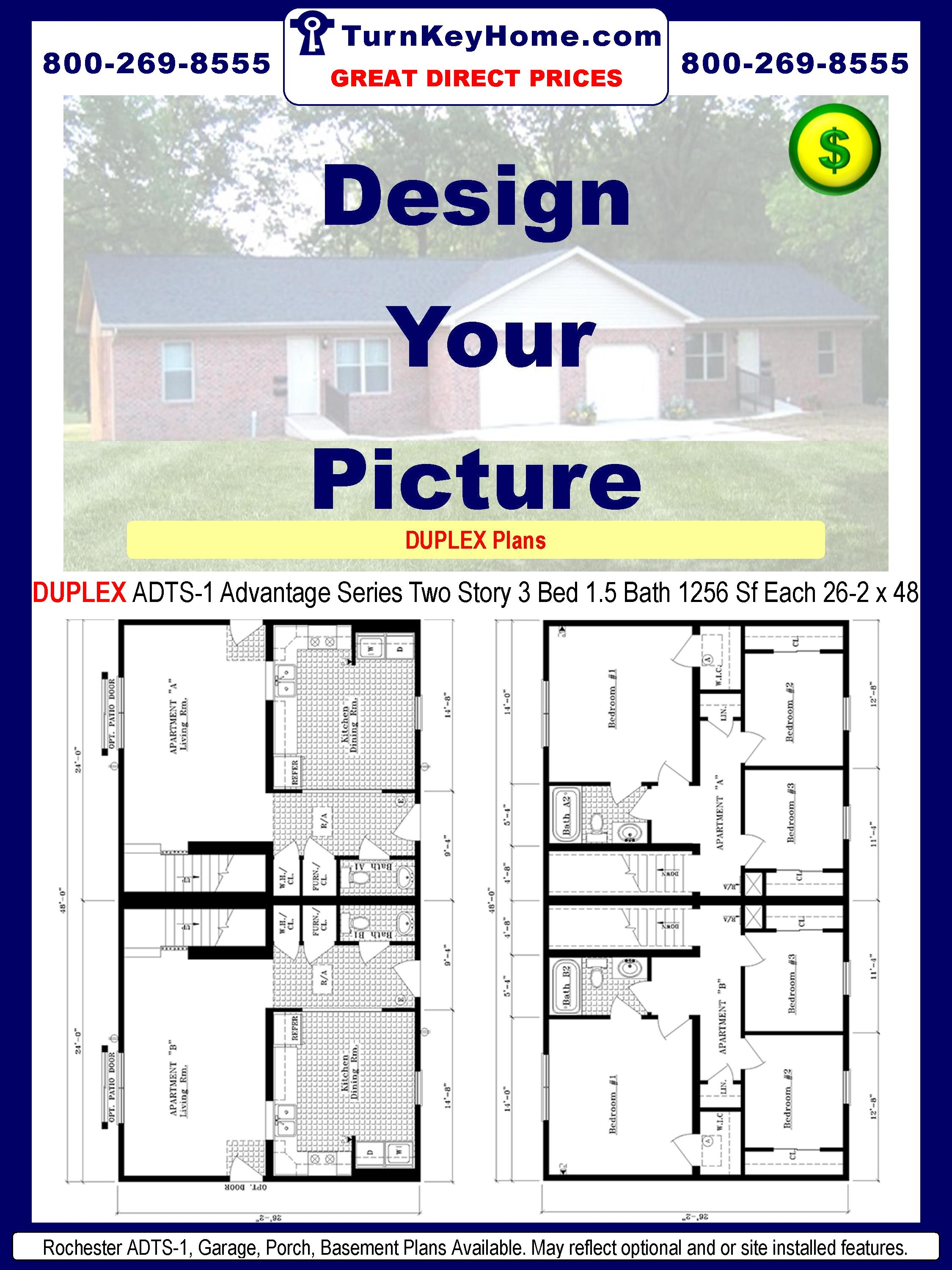 duplex adts 1 2 1 1256 sf each two story plan rochester homes