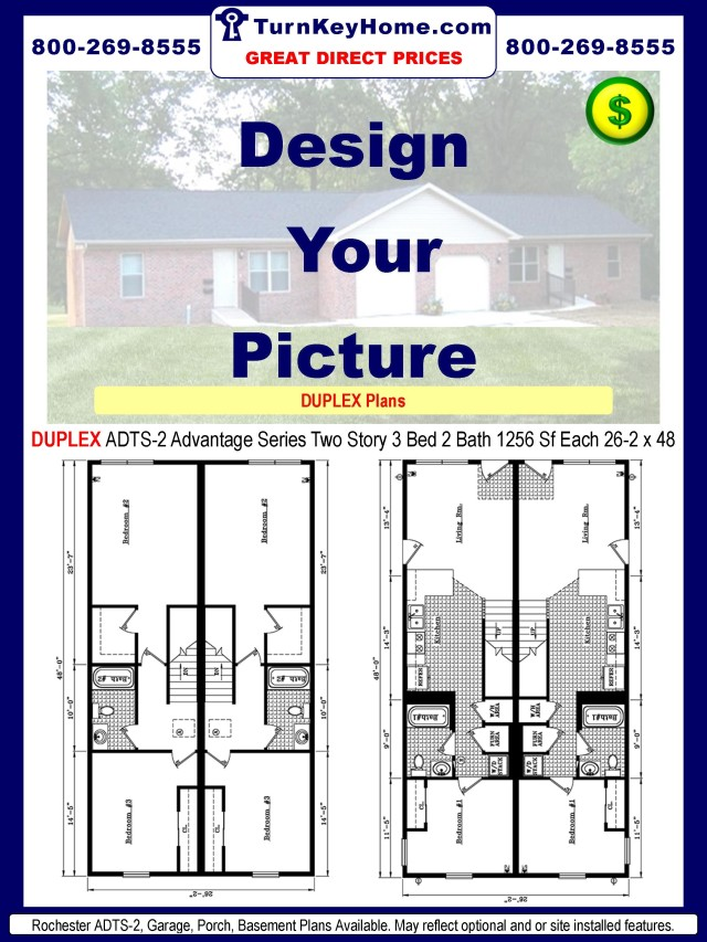 Homes DUPLEX ADTS-2 Advantage Series Modular Ranch Plan 3 Bedroom 2 ...