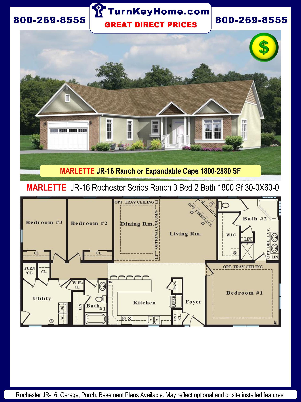 Series Modular Ranch Plan 3 Bedroom 2 Bath 1800 Sf 30 0x60 0 Price F