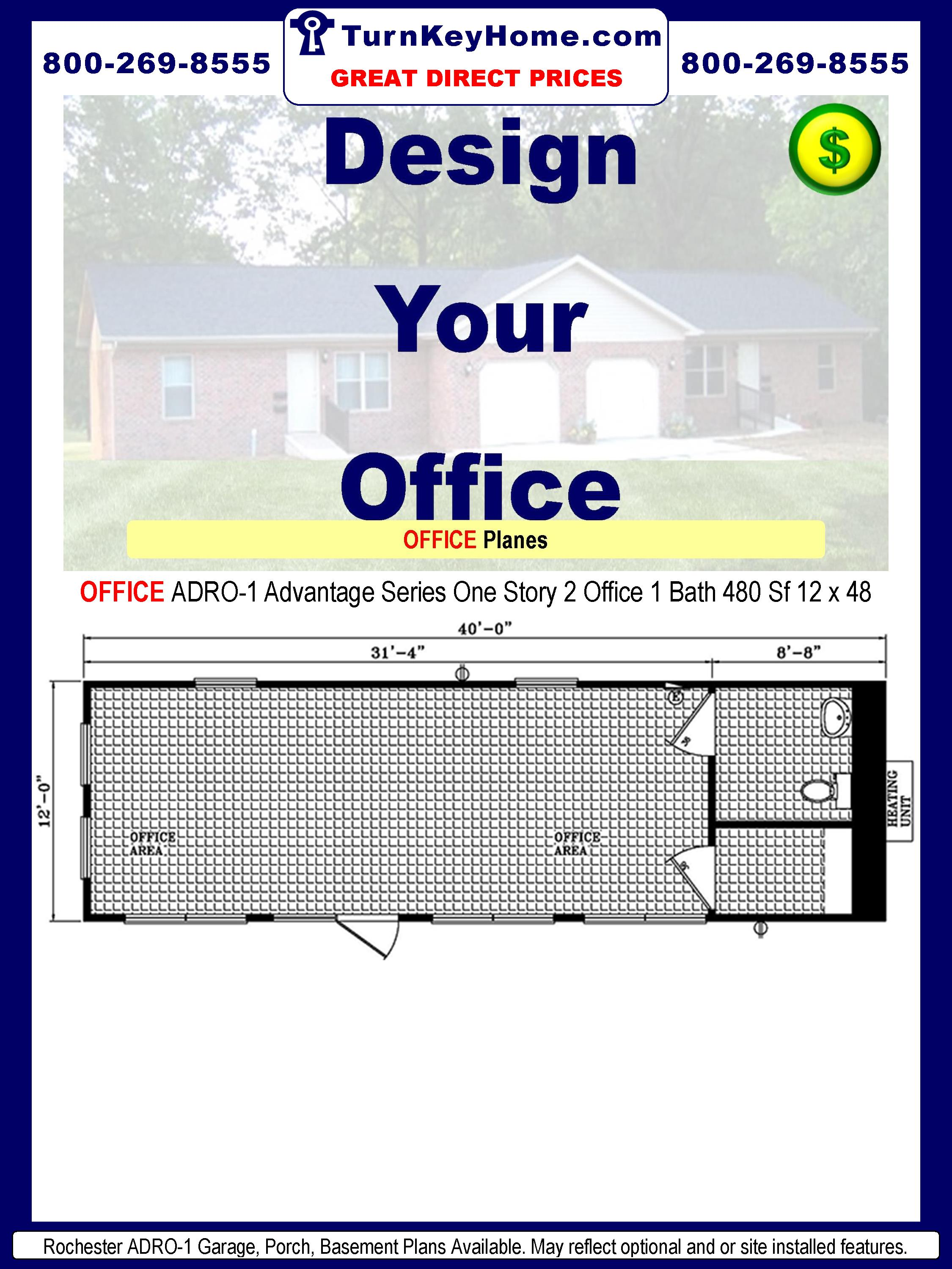 Rochester Homes OFFICE ADRO-1 Advantage Series Modular One Story Office 2 Offices 1 Bath 480 Sf Each 12 x 40.Price