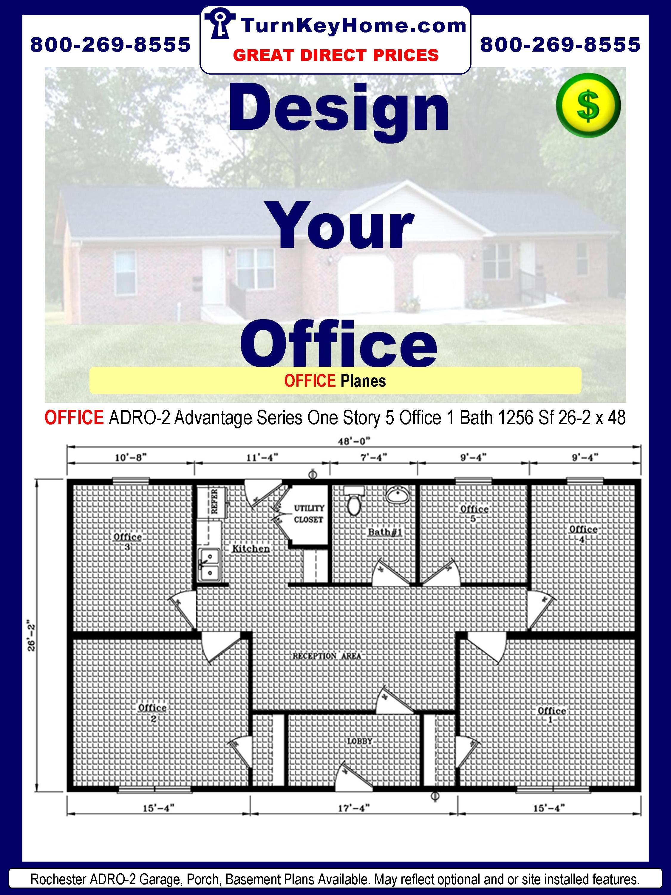 Rochester Homes OFFICE ADRO-2 Advantage Series Modular One Story Office 5 Offices 1 Bath 1256 Sf Each 26-2 x 40.Price