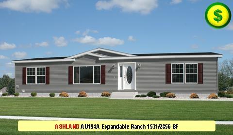 ASHLAND AU194A Aurora Classic Ranch 3 Bed 2 Bath 1531 SF 27-4 x 56-0 480x277