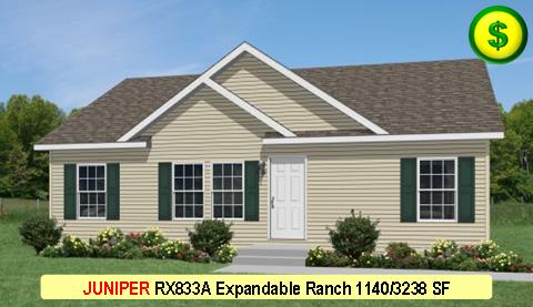 JUNIPER RX833A Grandville LE Modular Series 3 Bed 2 Bath 1140 SF 30-0 x 38-0 480x277