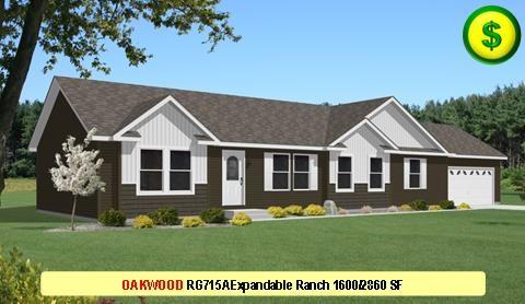 OAKWOOD RG715A Grandville LE Modular Series 3Bed 2Bath 1600 SF 26-8x60-0 480x277