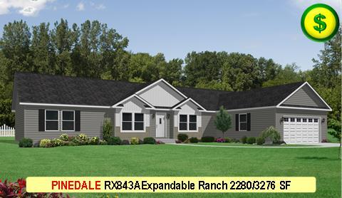 PINEDALE RX843A Grandville LE Modular Series 3Bed 2Bath 2280 SF 30-0 x 76-0 480x277