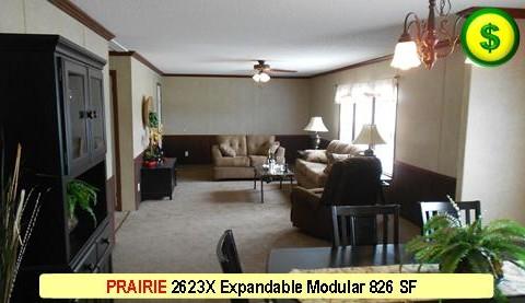 PRAIRIE 2623X Mojave Sectional Modular 3 Bed 2 Bath 826 SF 13-4 X 62-0 480x277