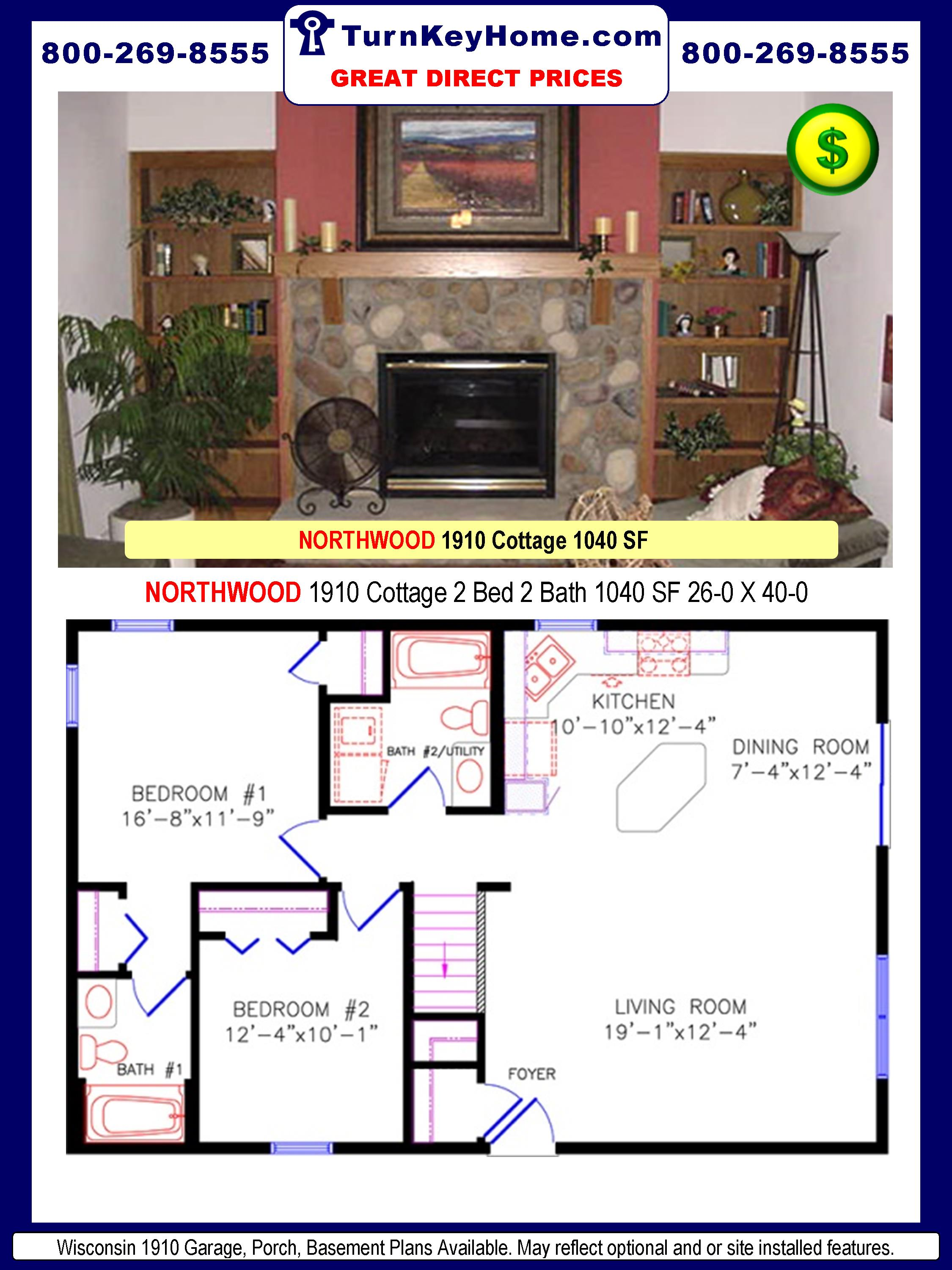 WISCONSIN HOMES NORTHWOOD 1910 Cottage 2 Bed 2 Bath 1040 SF 26-0 X 40 ...