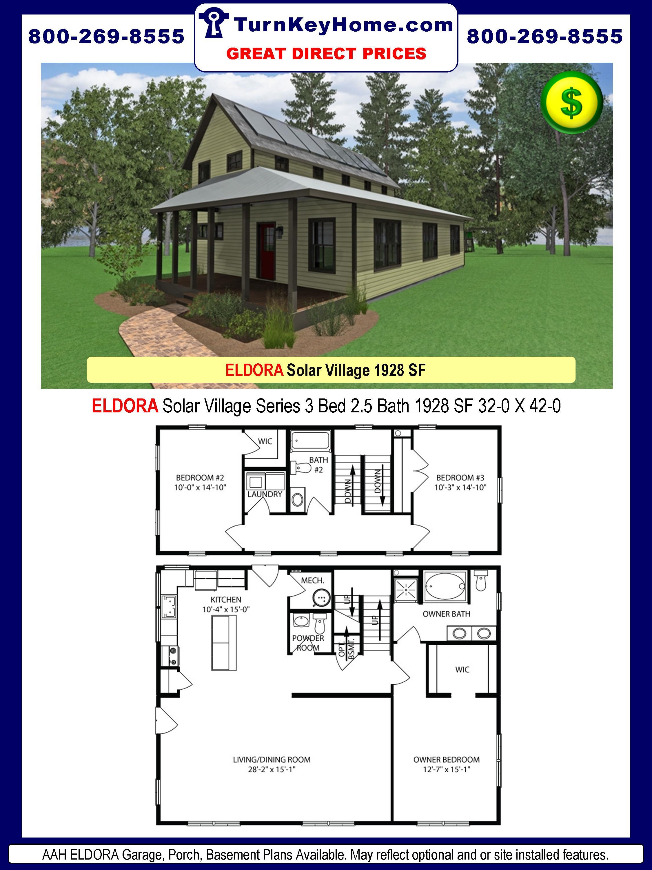 AAH ELDORA Solar Village Series 3 Bed 2.5 Bath 1928 SF 32-0 X 42-0 480x277