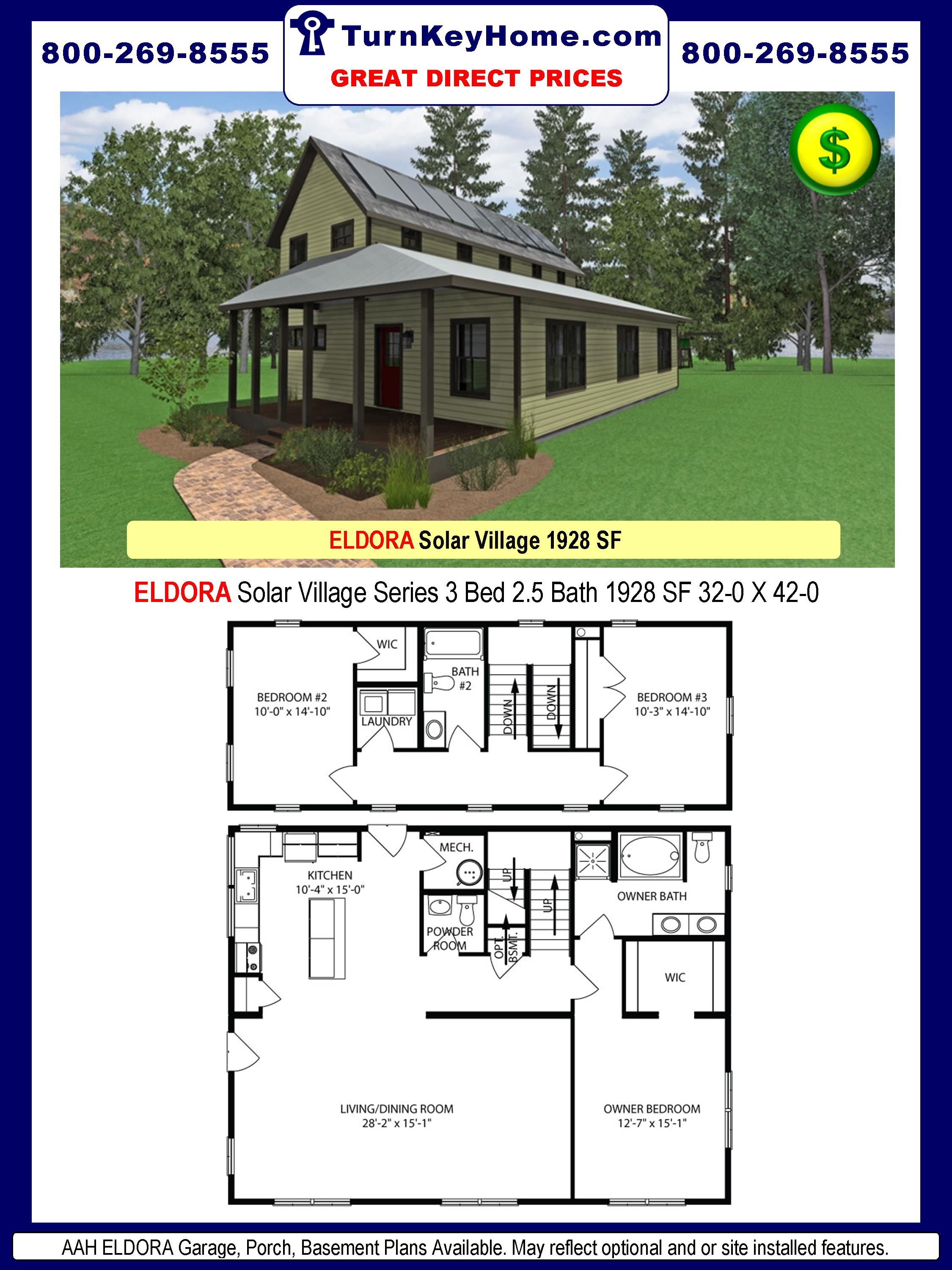 AAH ELDORA Solar Village Series 3 Bed 2.5 Bath 1928 SF 32-0 X 42-0 480x277
