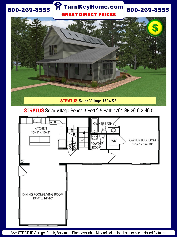 AAH STRATUS Solar Village Series 3 Bed 2.5 Bath 1704 SF 36-0 X 46-0
