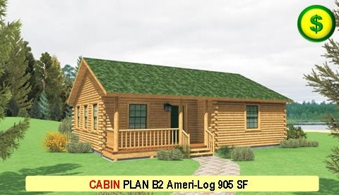 CABIN PLAN B2 Ameri-Log Series 2 Bed 1 Bath 995 SF 36-0 X 28-0 480x277