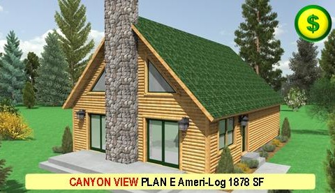 CANYON VIEW PLAN E Ameri-Log Series 3 Bed 3 Bath 1878 SF 52-0 X 28-0 480x277