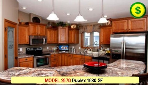 MODEL 2670 Duplex 4 Bed 2 Bath 1680 SF 28-0 X 60-0 480x277