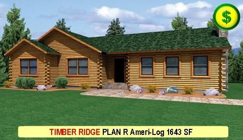 TIMBER RIDGE PLAN R Ameri-Log Series 3 Bed 2 Bath 1643 SF 50-0 X 26-0 480x277