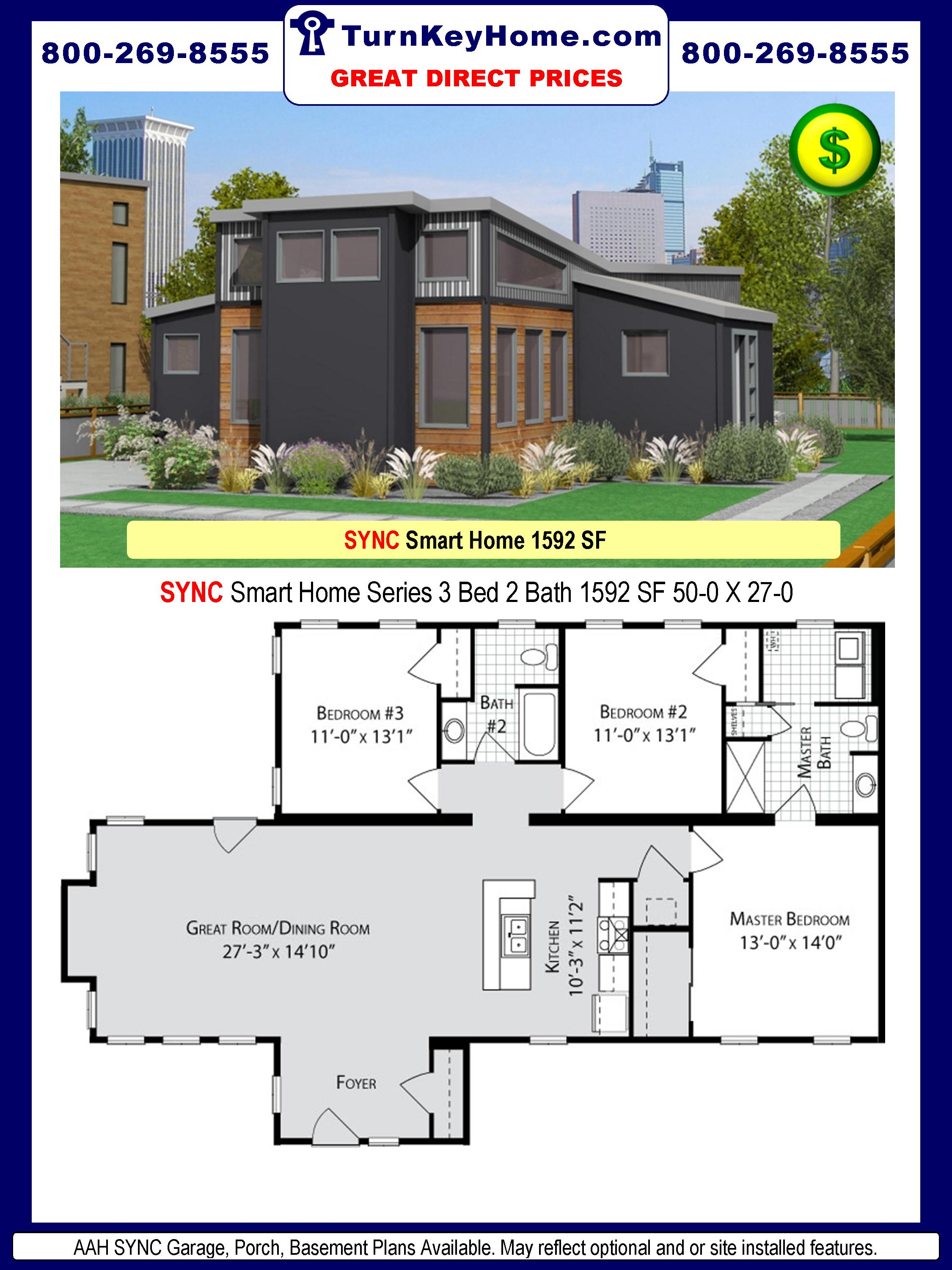modular home designs and prices. SYNC  3 Bed 2 Bath SMART HOME PLAN 1592 SF ALL AMERICAN HOMES Series DIRECT PRICE Urban City Modular Home Prices FROM All American Homes