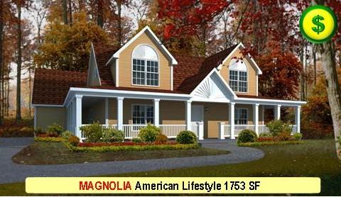 MAGNOLIA American Lifestyle Series 3 Bed 2.5 Bath 1753 SF 40-0 X 27-0 480x277