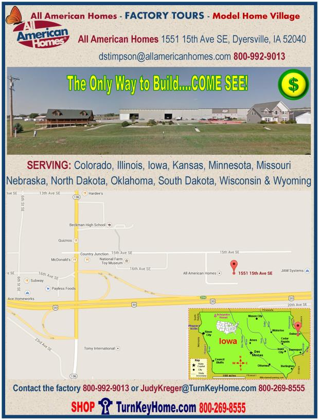 All American Homes Factory Tours and Model Village Map and Contact Information, 1551 15th Ave SE, Dyersville, Iowa 52040, 800-992-9013