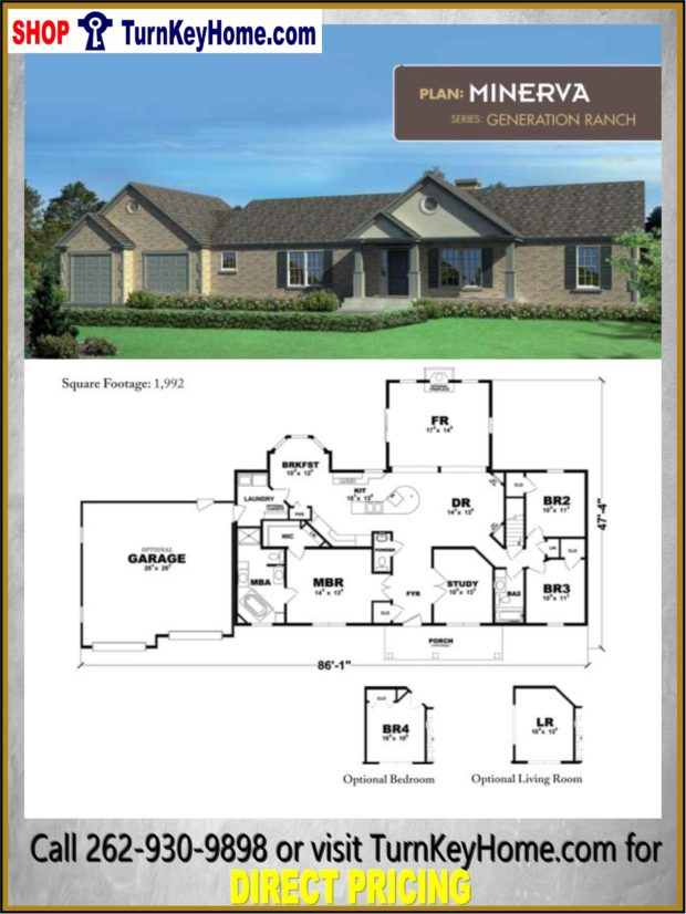 Minerva ranch home 3 bed 2 5 bath plan 1992 sf priced from for House plans designs direct