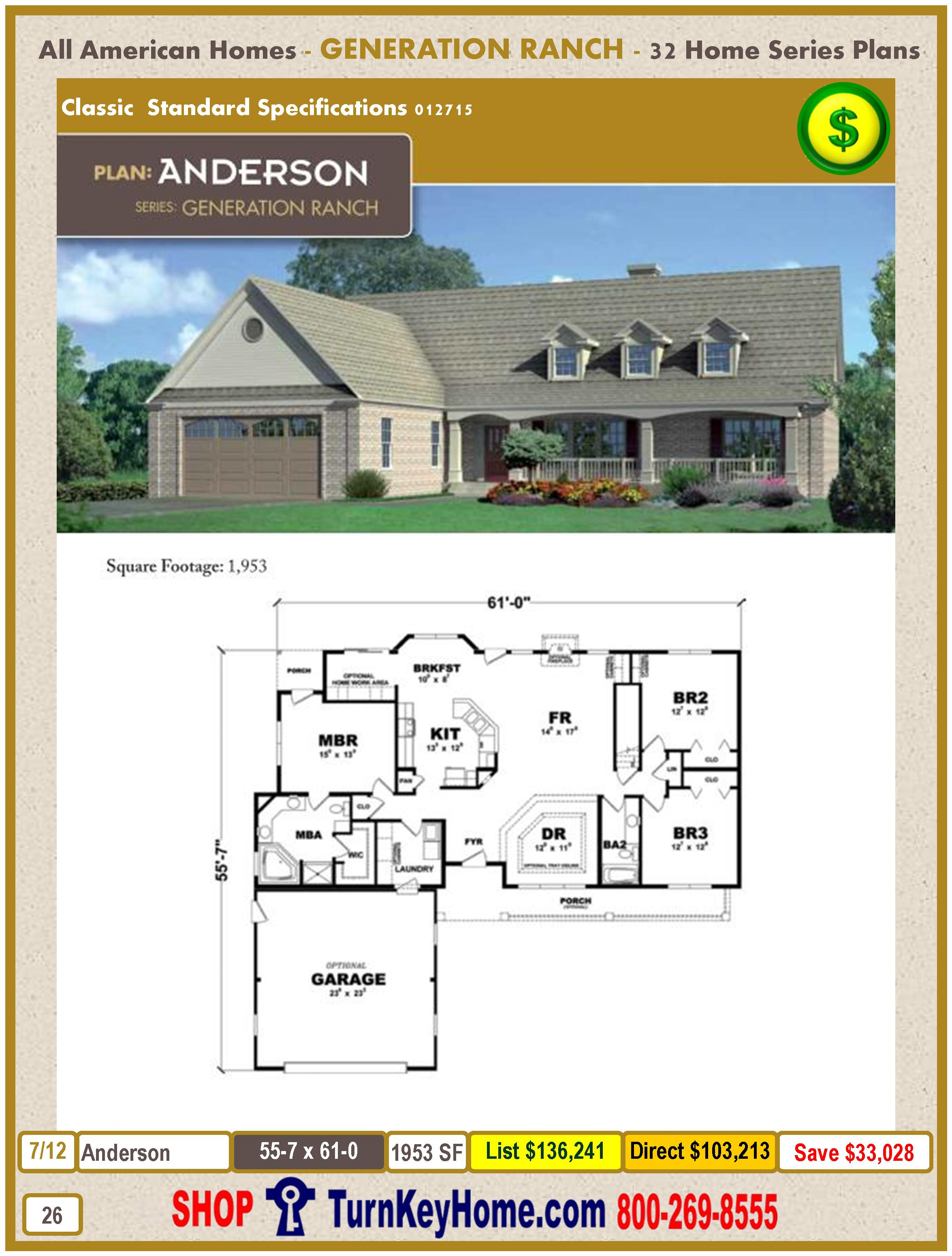 Pleasant Anderson Modular Home Ranch Plan Direct Priced From All American Inspirational Interior Design Netriciaus