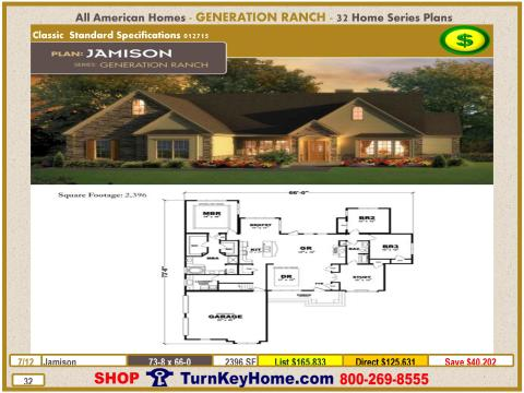 JAMISON All American Homes Generation Ranch Modular Home Price 4 Bedroom 2  Bath 2396 SF. Modular Home Plans and Prices