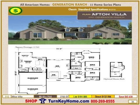 AFTON VILLA Modular Home Price 4 Bed 3 Bath 2760 SF