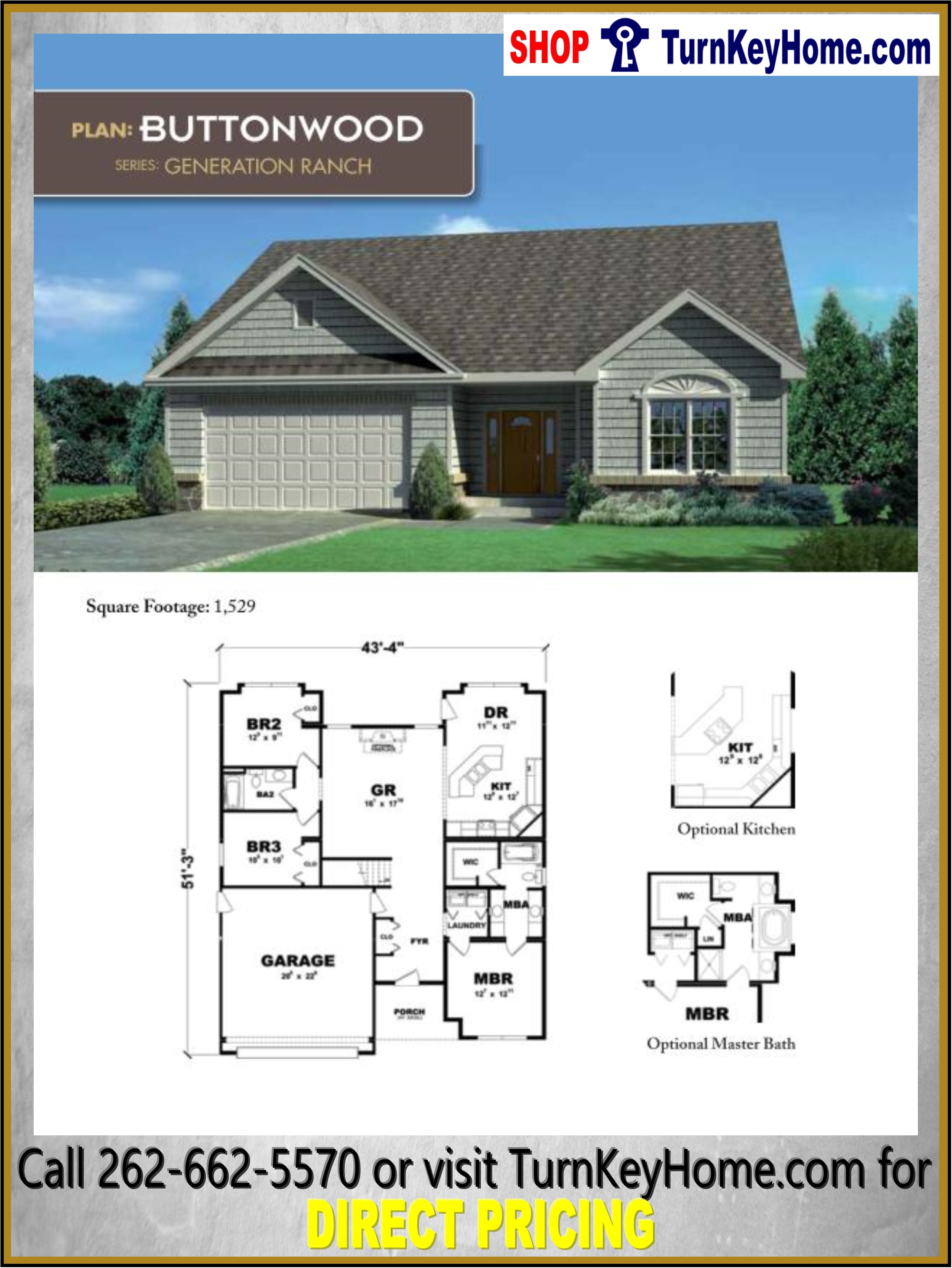 Tremendous Buttonwood Ranch Home 3 Bed 2 Bath Plan 1529 Sf Priced From Download Free Architecture Designs Remcamadebymaigaardcom