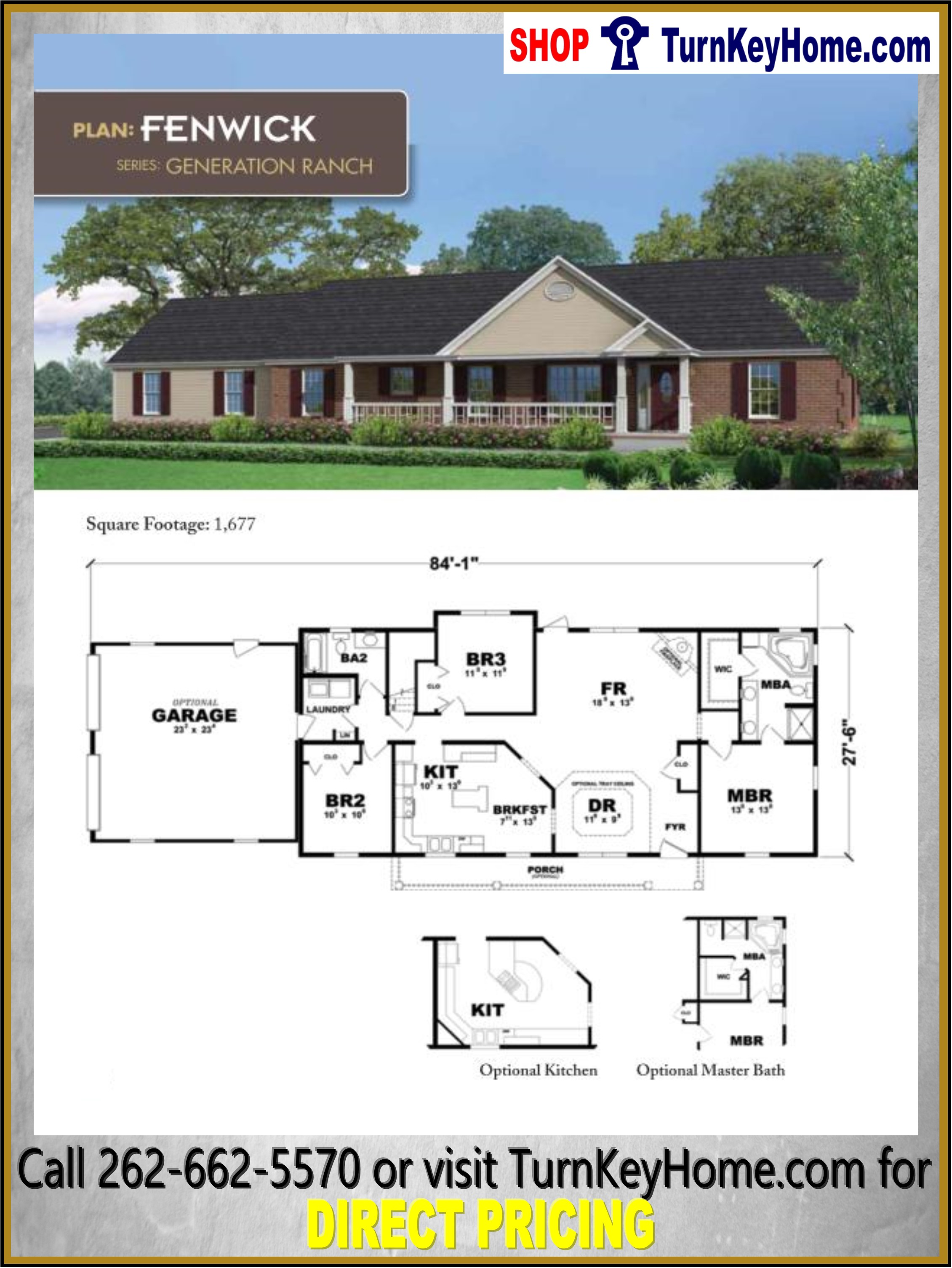 FENWICK Ranch Style Home 3 Bed 2 Bath Plan 1677 SF Priced ... on 3-bedroom ranch homes, 3-bedroom ranch style house plans, house plans with 5 bedrooms and 3 bathrooms,