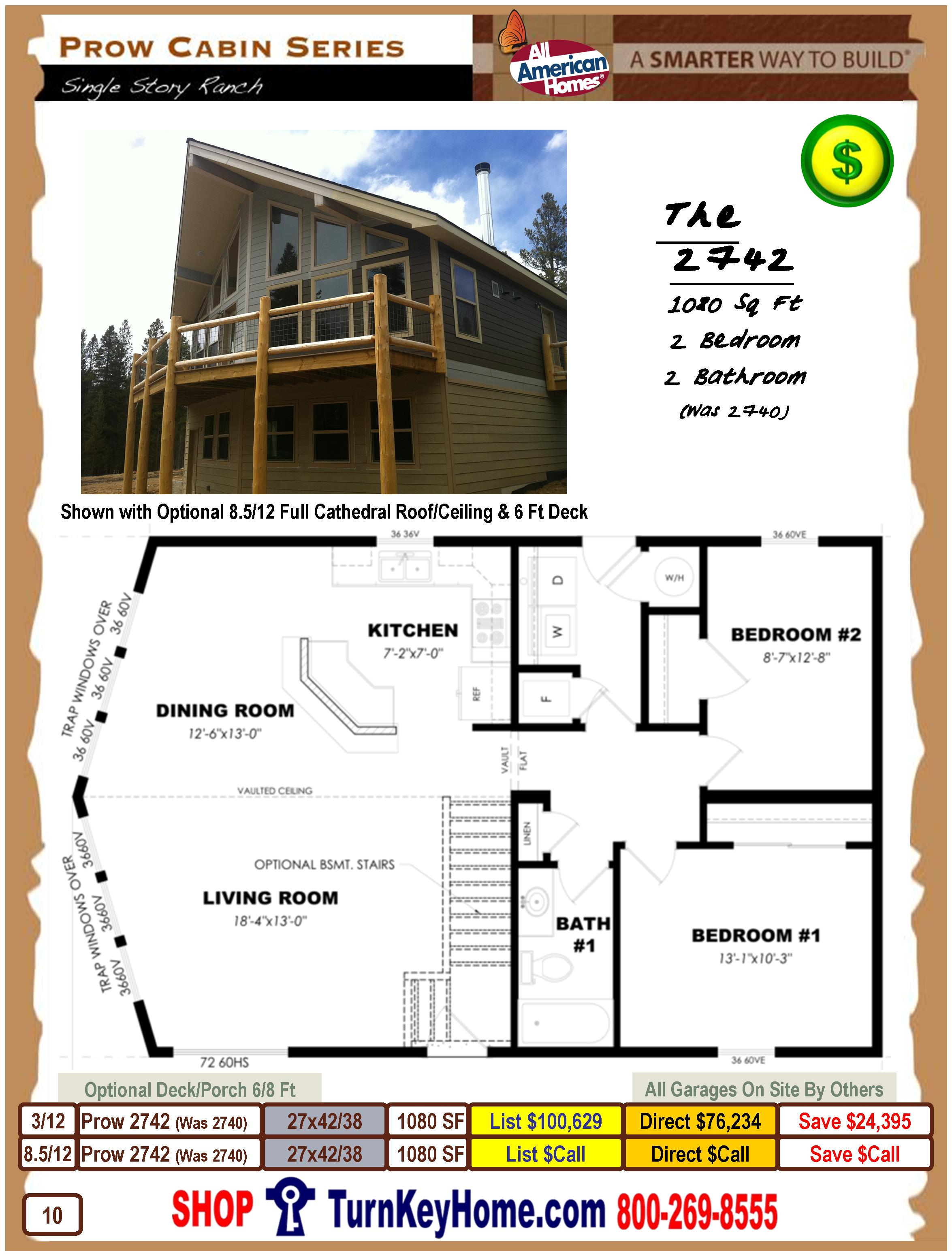 prow cabin series from all american homes modular home plan cabin book