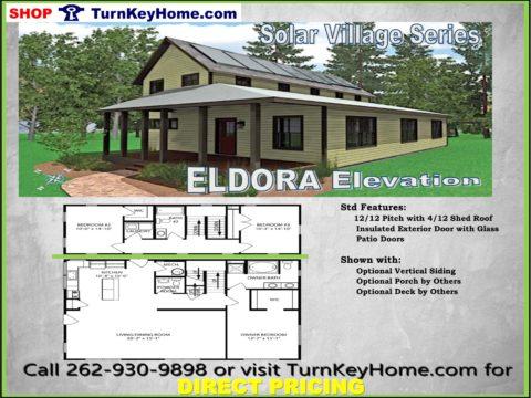 ELDORA Solar Village Series Home 3 Bed 2 Bath Plan Priced From Turn Key Home  Modular Plan Designs