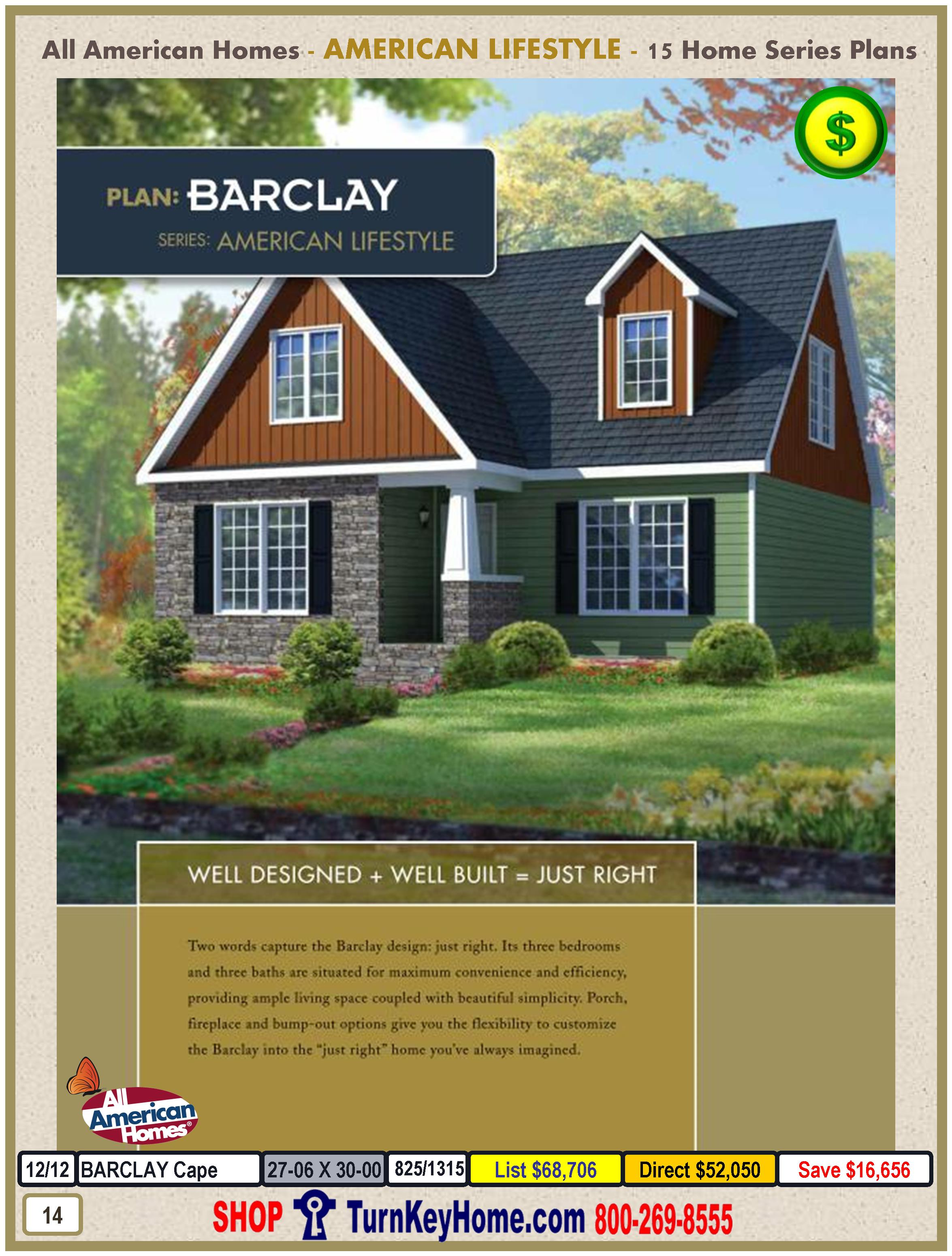 Attractive Modular Homes Plans From All American Homes American Lifestyles   Barclay  Home Design