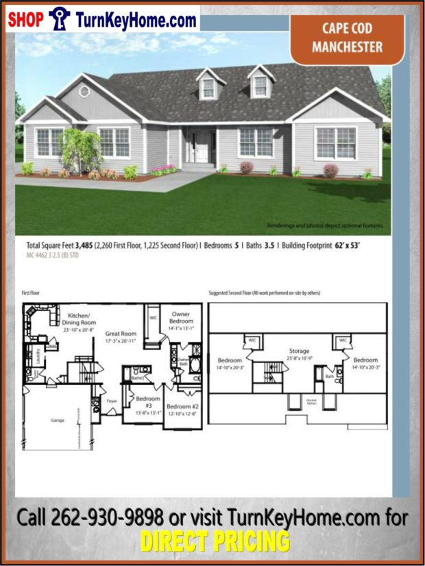 Manchester cape cod home 5 bed 3 5 bath plan 3485 sf for Direct from the designers house plans