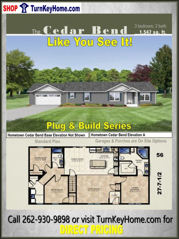 Cedar bend ranch home 3 bed 2 bath plan 1547 sf priced for Direct from the designers house plans