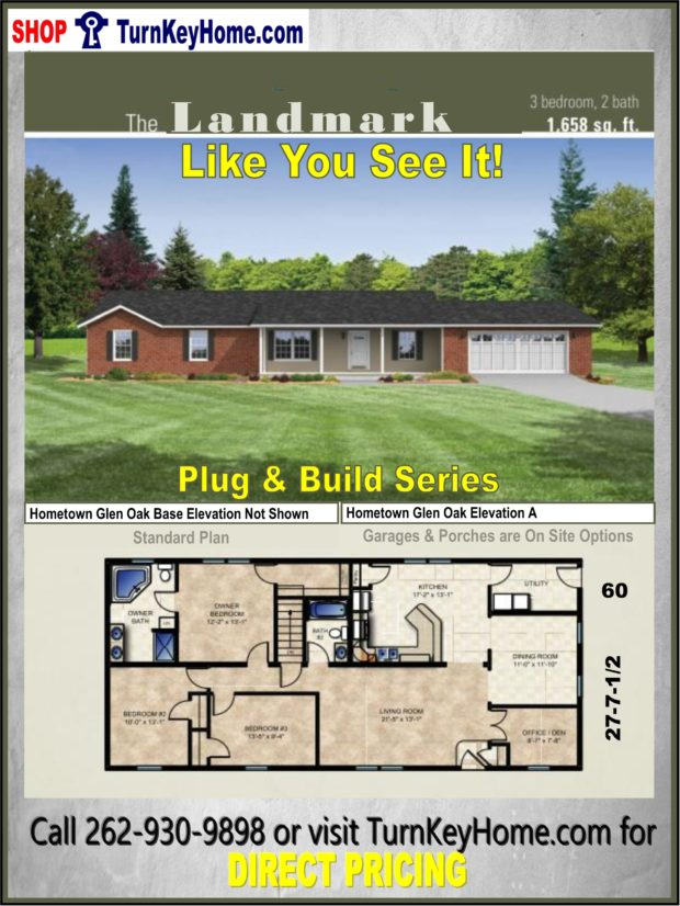 Landmark ranch home 3 bed 2 bath plan 1658 sf priced from for Direct from the designers house plans