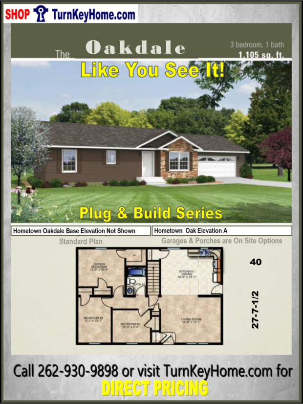 Oakdale ranch home 3 bed 1 bath plan 1105 sf priced from for Direct from the designers house plans