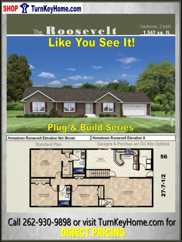 Roosevelt ranch home 3 bed 2 bath plan 1547 sf priced from for Direct from the designers house plans