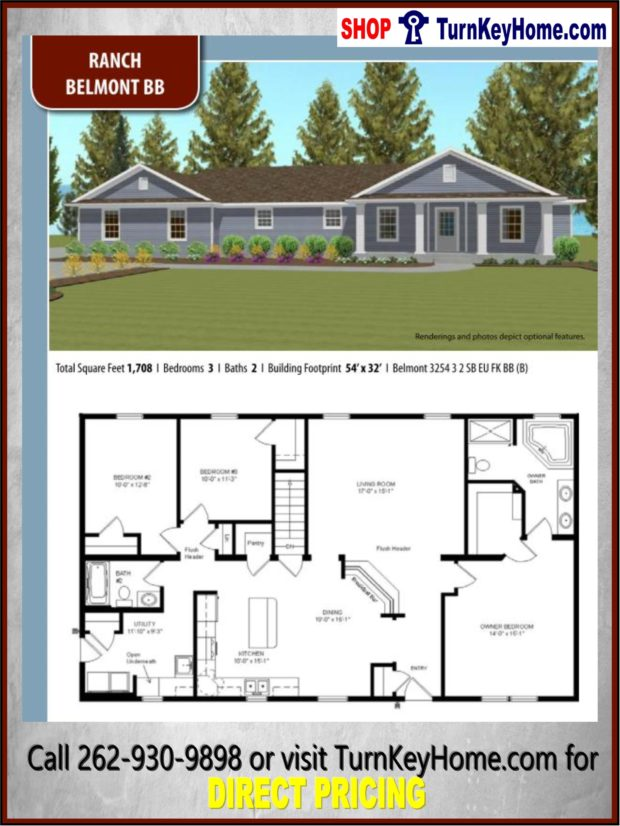 Belmont bb ranch home 3 bed 2 bath plan 1708 sf priced for Direct from the designers house plans