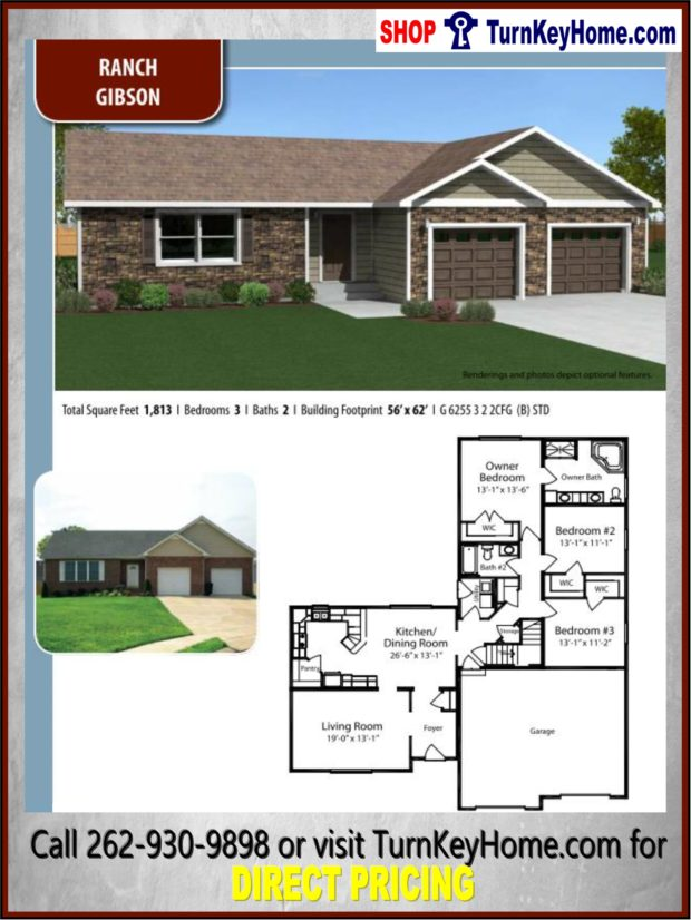Gibson ranch home 3 bed 2 bath plan 1813 sf priced from for Direct from the designers house plans