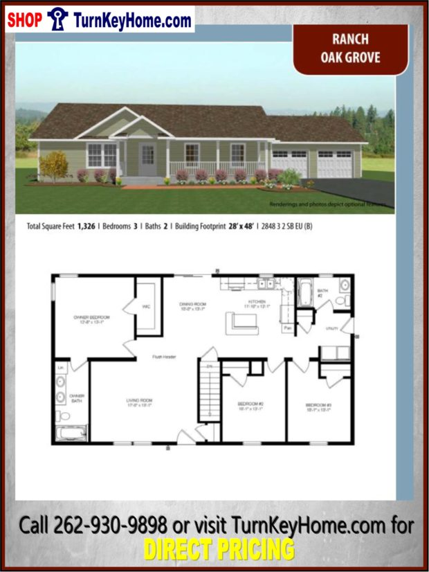 Oak grove ranch home 3 bed 2 bath plan 1326 sf priced from for Direct from the designers house plans