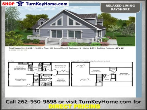 BAYSHORE Cabin Style Home 3 Bed 2.75 Bath Plan 1495 SF Priced From Turn Key Home  Modular Plan Designs
