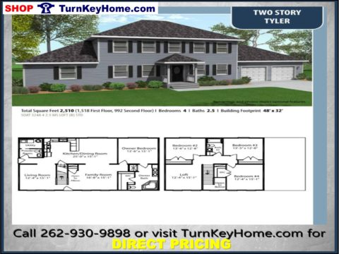 TYLER Two Story Home 4 Bed 2.5 Bath Plan 2510 SF Priced From  TurnKeyHome.com Modular Plan Designs
