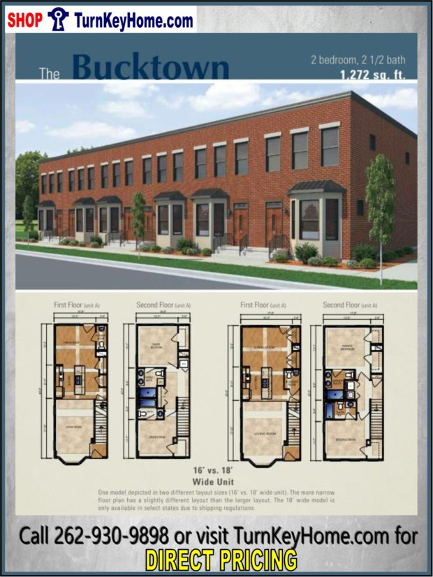 The bucktown urban collection home 2 bed 2 5 bath plan for Multi family modular home prices
