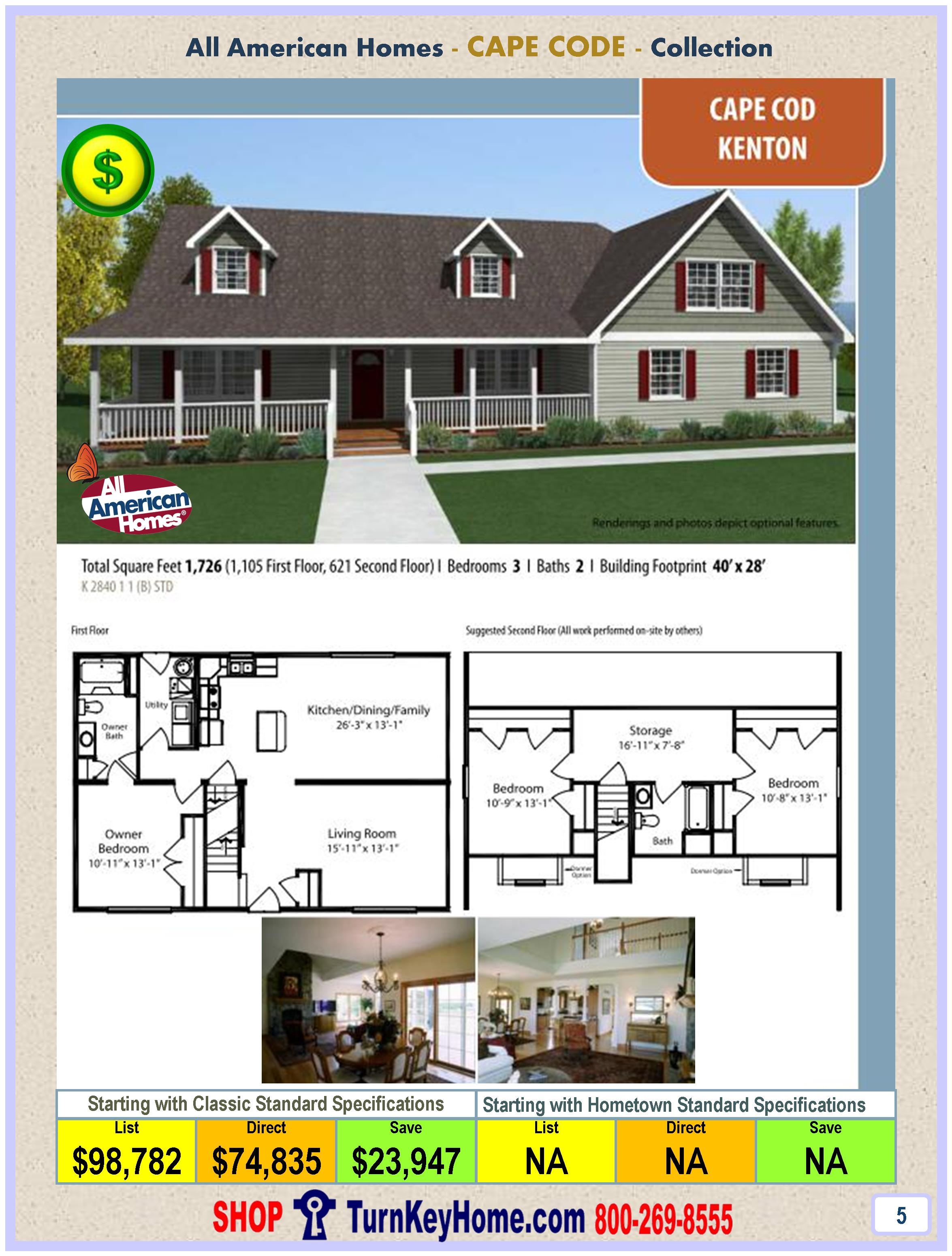 All American Homes kenton all american cape cod modular home cape cod collection plan