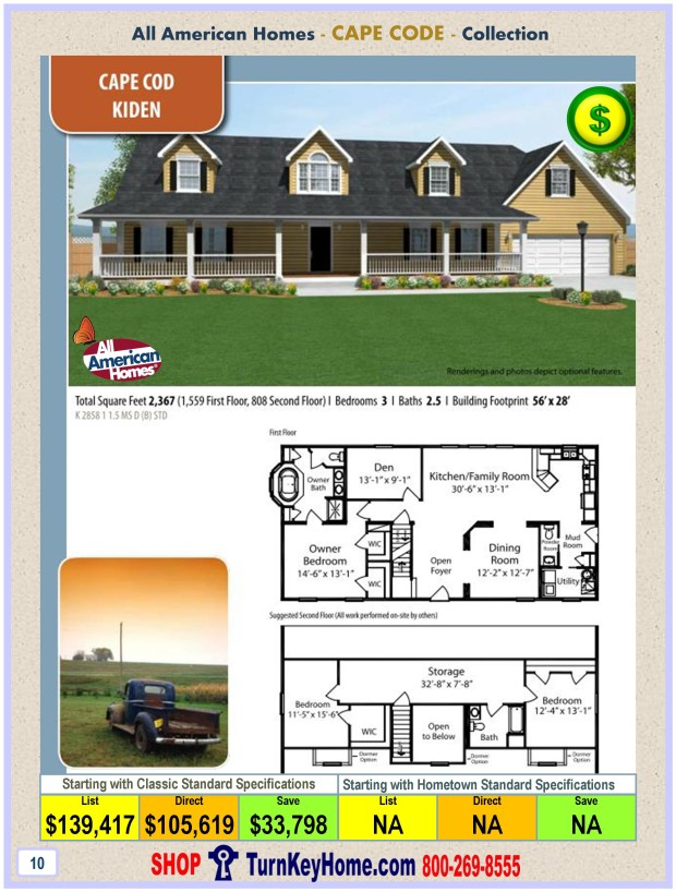 KIDEN All American Homes Cape Cod Modular Home Cape Cod Collection Plan  Price